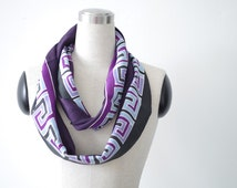 Silk scarf hand painted in purple with Greek design. Long neck scarves modern abstract minimalist style. Hand dyed art scarf gift for women