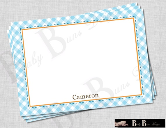 Boy Farm Birthday Party Thank You Note/Stationery (blue gingham)- PRINTABLE