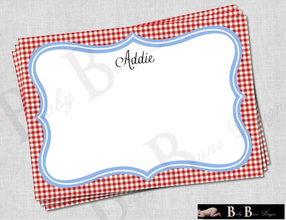 Chef or Cooking Birthday Party Thank You Note/Stationery - PRINTABLE (red and blue)