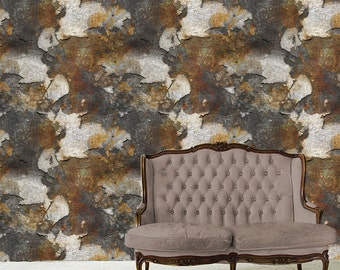 Removable Wallpaper- Rust Flakes- Peel & Stick Self Adhesive Fabric Temporary Wallpaper-Repositionable-Reusable- FAST. EASY.