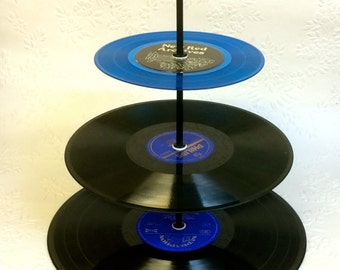 3 tier Vinyl Record Cupcake Stand Retro Cake Stand Blue