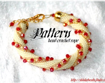 Crystal bracelet bead crochet rope pattern or necklace
