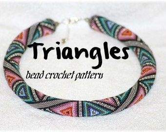 Triangles colorful geometric bead crochet rope pattern