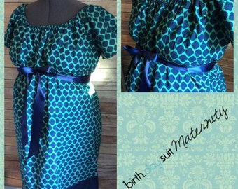 Maternity Hospital Labor Gown- teal and navy geometric print