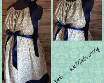 Maternity Hospital Gown: gray and cream floral, navy band