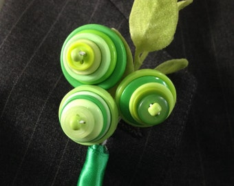 Shades of Green Button Blossom Wedding Boutonniere or Pin On Corsage