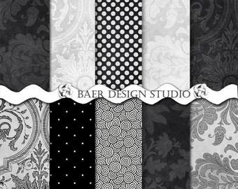 BLACK DIGITAL PAPER:Gray and Black Digital Paper, Black and Silver Digital Paper, Black Damask Digital Paper, Silver Digital Paper, #15106