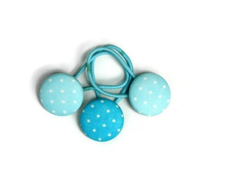 Teal Spots Pony Tail Holder - Set of 3 Hair Elastic Hair Tie - Set of 3 - Teal Spots Dots