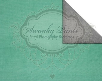 NEW ITEM / 7ft x 5ft REVERSIBLE Vinyl Backdrop / Double sided / Teal Texture / Gray Texture