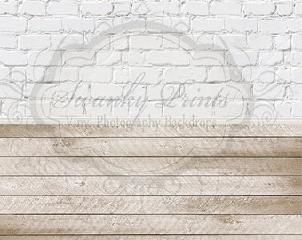 """All In One 120"""" x 243"""" Vinyl Photography Backdrops / Blurred White Brick, baseboard and Light Scuffed Wood"""