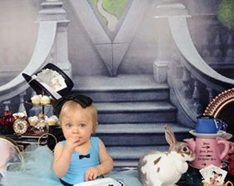 Two In One 6ft x 12ft Vinyl Photography Backdrop / Alice in Wonderland and Black Tiles