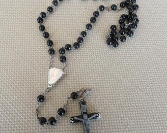 A574)  Vintage Black Bead Italian Rosary