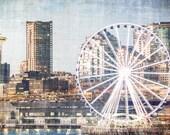 Seattle, Ferris Wheel, Grunge, Pacific Northwest, 8 x 10 Photography