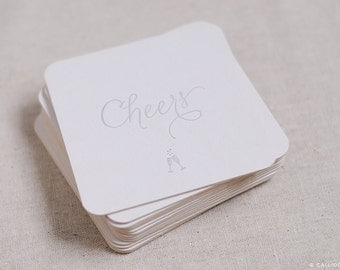 Set of 10: Celebration Coasters, Cheers with Champaign Glasses, letterpress printed in metallic silver