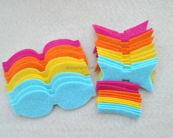 12 Piece Chunky Die Cut WOOL Blend Felt DIY Bows, Rainbow