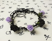Pastel Purple Lilac Faux Barbed Wire Rose Flower Crown
