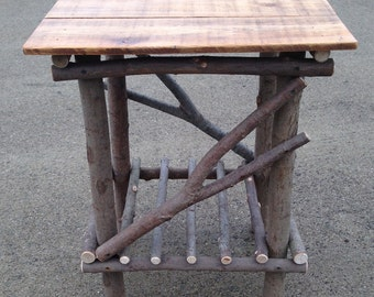 Plank Top Twig Table ( free shipping and set of twig candle holders with purchase )