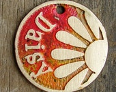 Pet Tag / Dog Tag / Pet ID / Custom Pet Tag / Personalized Dog Tag / Cat Tag / Oversized Daisy Etched Brass Tag - Colorful