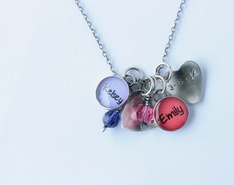 Charm Necklace with Birth Dates and Birthstones