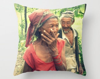Pillow Cover, True Love, Nepalese Couple, Old Couple, Sweet Home Decor, Fine Art Photography, Travel Pillow, Nepal, Asia, Wedding Gift