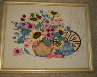 Vintage Southwestern Style Crewel Embroidered Pottery and Basket display with a wonderful floral bouquet in Very Good Condition