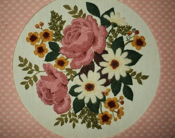 Vintage Hand Sewn Embroidered Daisy Still Life Floral bouquet, Professionally framed and matted with a fabric border in Very Good Condition