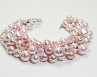 Pink Cluster Bracelet, Bridal Jewelry, Wedding Bracelet, Pearl Bridesmaid Bracelet, Pink Bracelet, Chunky Bracelet, Shades of Pink Jewelry