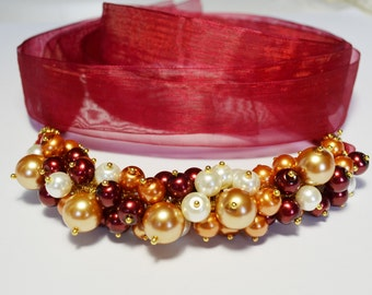 Marsala, Ivory and Gold Pearl Cluster Necklace, Pearl Cluster Necklace, Chunky Pearl Necklace, Marsala and Gold Wedding Combo, Pearl Jewelry
