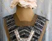 Black and Silver Beaded Sequined Applique