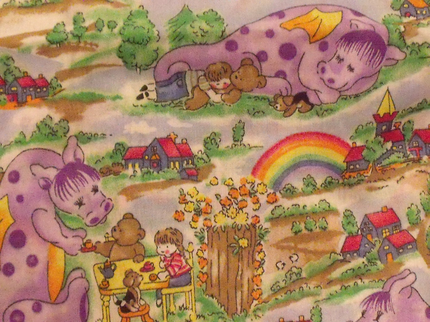 Brand new dragons and rainbows fabric for children cotton poly for Dragon fabric kids