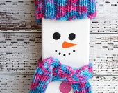 Wooden Snowman with Hand Knitted Pink and Blue Winter Accessories