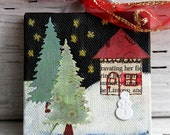Mixed Media Winter Landscape with Snowman Christmas Ornament on Canvas