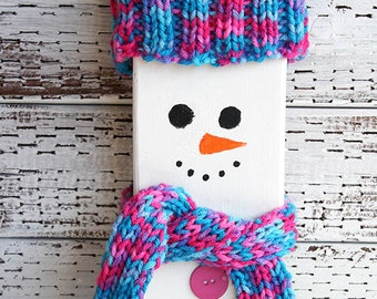 Wooden Snowman with Hand Knitted Pink and Blue Winter Accessories, Hat and Scarf, Porch Holiday Decoration, Christmas Decor, Upcycled Wood