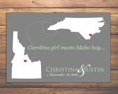 State Guest Book Print, Wedding Guest Book, STATE WEDDING Guestbook POSTERS, Personalized States, Wedding Gifts, 2 States Wedding Guest Book