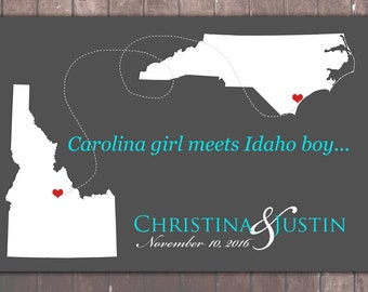 STATE WEDDING Guestbook POSTERS, Personalized States, Wedding Gifts, 2 States Wedding Guest Book, State Guest Book Print, Wedding Guest Book