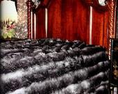Plush Faux Fur Bed Spread - Comforter -Throw Blanket or DUVET - Black and Gray Stripe Chinchilla - Shaggy Luxury Fur