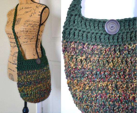 Knitting Pattern Hobo Bag : Crochet Cross Body Bag Crochet Hobo Bag Hippie Purse Knit