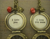 Mother Daughter Lockets I love you and I love you more set of two matching Mother's day inscribed jewelry