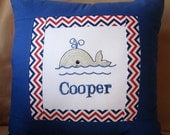 Nautical Personalized Embroidered Name Pillow Cover Boy Birthday Shower gift - Baby Whale- Custom Made Nursery décor