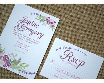Boho Flowers Wedding Invitation - Boho Vintage Style - Dark Spring Colors - Garden Barn Wedding Invite - Romantic Flowers Calligraphy Font