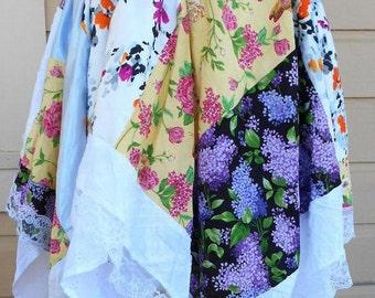 Handkerchief hem skirt, patchwork skirt, boho skirt, waist 30, hippie skirt, Lolita skirt, cosplay skirt, pull on skirt, elastic waist
