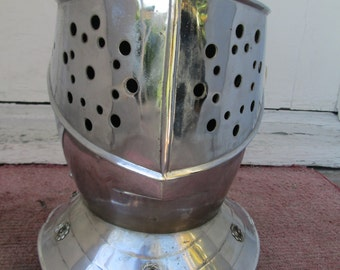 Sale---1960's or 70's Stainless Steel and Brass Medieval Knight in Shining ARMOR HELMET
