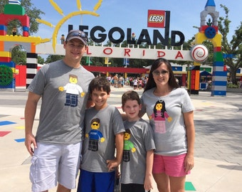 Personalized Lego inspired Shirt for kids short sleeve * Legoland * Minifigure * customize *