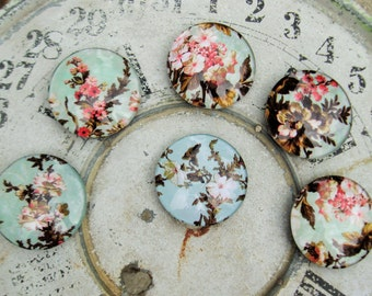 Vintage Floral Large Glass Magnets Shabby Aqua Pink Vintage Home Decor Office Decor Organization Gift Idea Two Inch Domed Glass Magnets