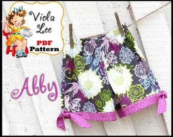 Abby...Girl's Shorts Pattern, Infant pattern. Girl's Sewing Pattern.  Toddler Shorts Pattern. Tailored Boutique style Shorts, pdf Pattern.