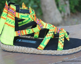 Boho Gladiator Womens Sandals In Yellow Hmong Embroidery Summer Shoes - Isadora