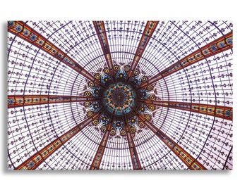 Paris Photograph on Canvas - Stained Glass Ceiling at Galeries Lafayette, Gallery Wrapped Canvas, Paris Urban Decor, Large Wall Art