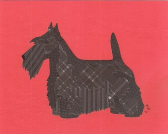 Scottish Terrier handmade original cut paper collage dog art wheaten & brindle available