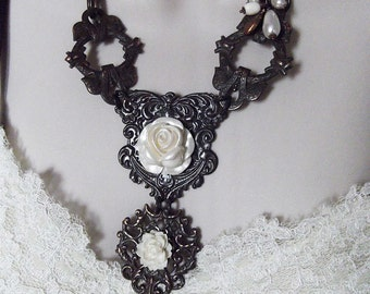 Rusty Black Brass Statement Piece With Pearly White Roses & Cameo