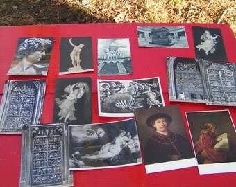44 Art Postcards early 1900's to 1950 French and Italian